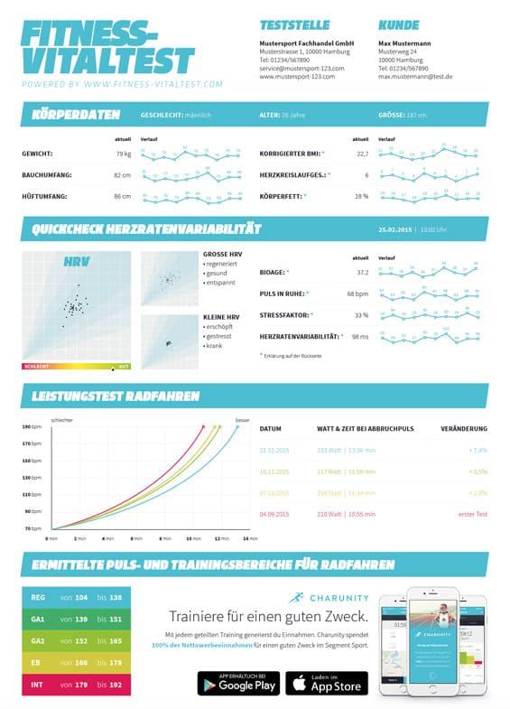 Grafiken und Daten vom Fitnessvitaltest